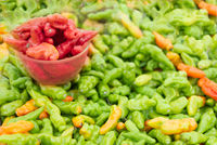 Fresh ripe red and green murupi pepper