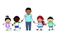 children  / kids with male adult holding hands, illustration  -