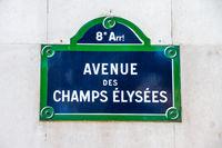 Avenue des Champs Elysees street sign, Paris, France