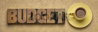 budget word in letterpress wood type