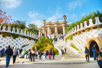 Overview of the park Guell entrance stairway