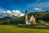 St. John church in front of the Odle mountains, Funes Valley, Dolomites, Italy