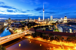 Berlin skyline tv tower townhall at night Germany city