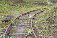Old narrow gauge railway right deflecting