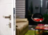 View into living room through door