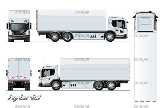 Vector cargo truck generation hybrid engine template