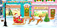Santa Claus on a sleigh with deers on a city street