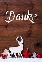 Snow, Deer, Tree, Red Ball, Danke Means Thank You