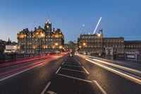 Light trails on the North Bridge towards the Balmoral in Edinburgh