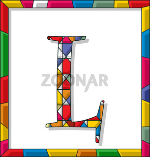Letter L in stained glass