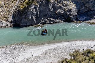 Neuseeland Südinsel -  Wildwasser-Rafting auf dem Shotover River an der Skippers Canyon Road nördlich von Queenstown in der Otago Region