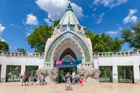 Visitors near the entrance of Budapest Zoo, Hungary
