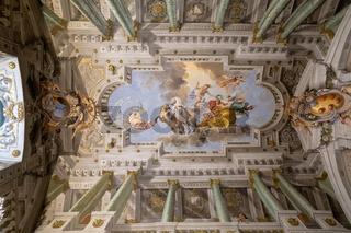 Panoramic view of interior and arts of Palazzo Pitti