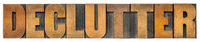 declutter isolated word in wood type