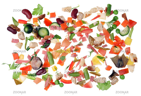Small micro pieces of food waste are scattered on a white kitchen table