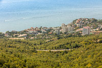 View of the village of Foros and the Black Sea from a height. Crimea