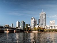 Frankfurt Skyline with Untermainbruecke at daylight with clear sky, hessen, germany