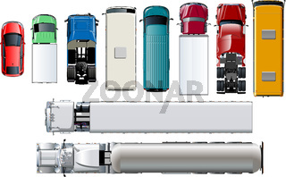 Vector transport top view. Isolated realistic vehicles set on white background.