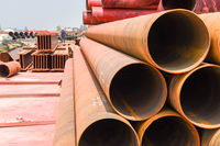 cylindrical steel tube on construction site