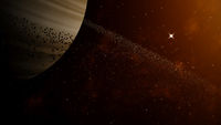 Gas Giant With Ring Of Ice Particles. Red Solar Wind And Stars At The Background