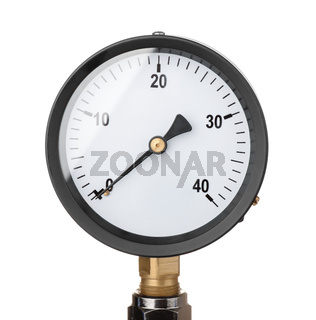 Front view of industrial pressure meter