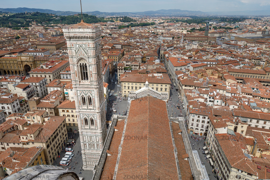 Aerial panoramic view of city of Florence and Giotto's Campanile