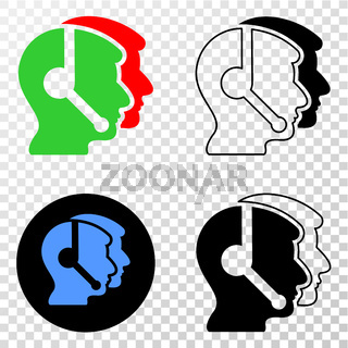 Call Service Operators Vector EPS Icon with Contour Version