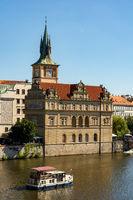 Passenger ship on the Vltava river in Prague