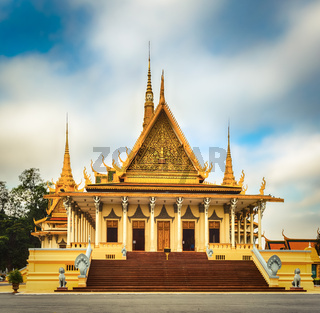 The throne hall inside the Royal Palace in Phnom Penh, Cambodia