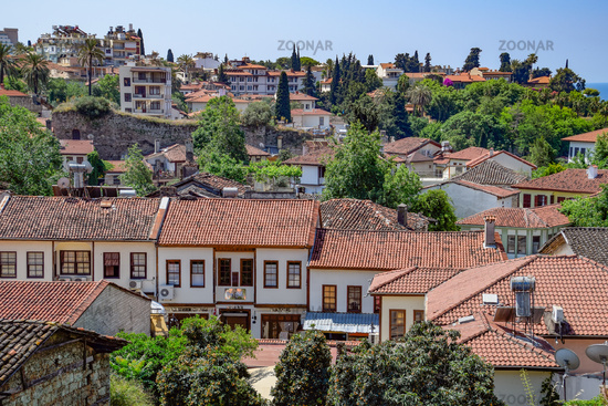 View from the observation deck on the roofs of the old buildings of the old city of Kaleici in Antalya, Turkey.
