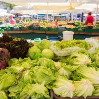 Vegetable market stall.