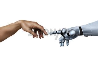 Michelangelo, die Erschaffung Adams, mit  Roboter