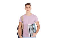 Close up view of student with notebook and bag