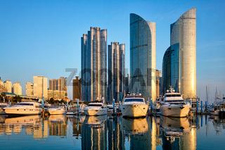 Busan marina with yachts on sunset, South Korea