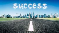 Concept of follow the right way to success road .