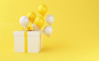 3d Balloons and gift boxes on yellow background.
