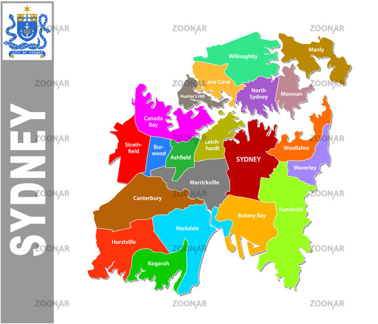 Foto Colorful Sydney administrative and political map with coat of ...