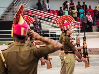 Petrapole-Benapole, Bangaon, West Bengal, 5th Jan, 2019: Joint Retreat Ceremony, military parade show same as Wagah Border between soldiers of Security Force India BSF and Border Guards Bangladesh BBG