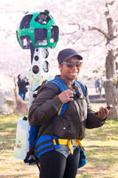 Google Street View camera operator at work