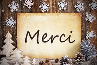 Old Paper, Christmas Decoration, Merci Means Thank You, Snowflakes