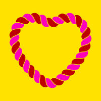 Rope heart shape in flat and isolated style.