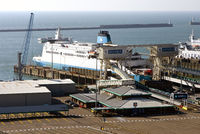 cross channel car ferry loading at dover harbour