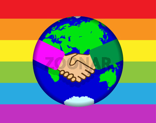 Handshake on the background of the globe. Background in colors of LGBT