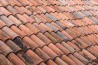 old roof tiles background - vintage ceramic roofing