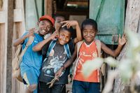 happy and smiling young malagasy boys, Madagascar