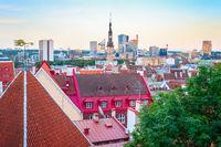 Tallin downtown aerial cityscape, Estonia
