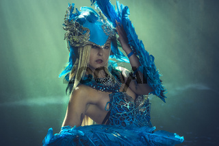Queen, Fantasy scene, Beautiful blonde woman in fancy dress and blue angel wings on arms
