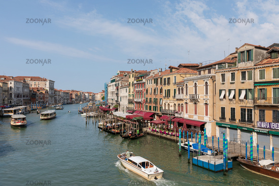 Panoramic view of Grand Canal (Canal Grande) from Rialto Bridge