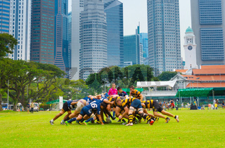 Play rugby team  Singapore downtown