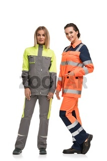 Women in working clothes isolated view